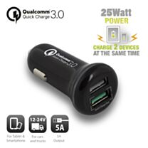 Ewent 2-Poorts USB Autolader 5A met 1 Quick Charge 3.0 poort