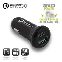 Ewent 2-Poorts USB-C en USB-A Autolader 36W met Quick Charge